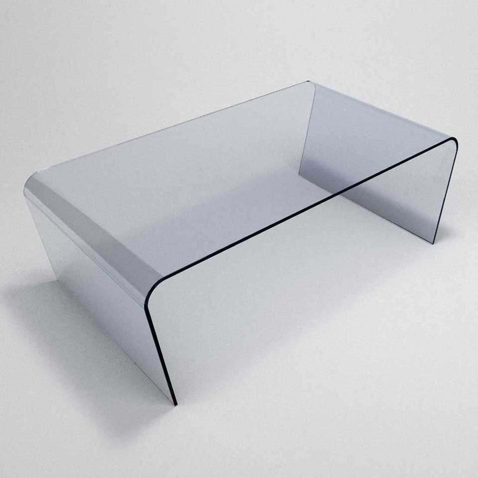 Oblique curved glass coffee table klarity glass furniture for Glass furniture