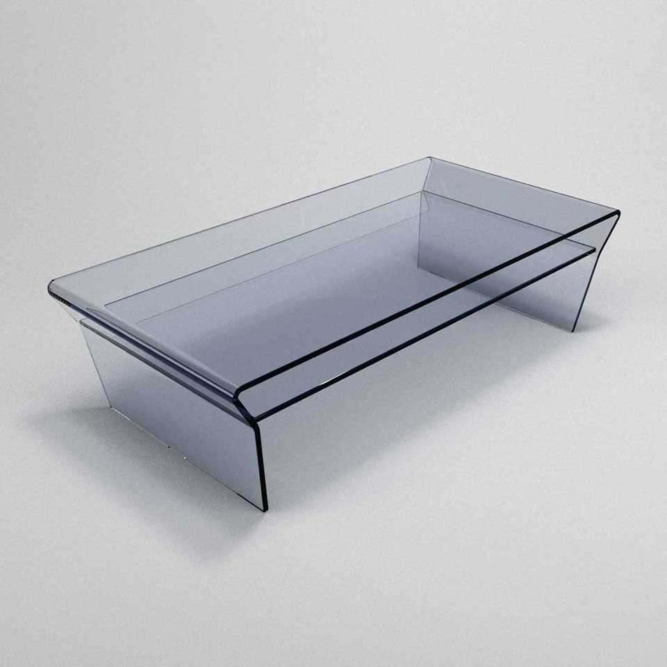 Seven Curved Glass Coffee Table With Shelf Klarity Glass Furniture