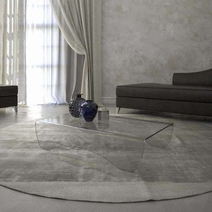 Pelle Curved Glass Table