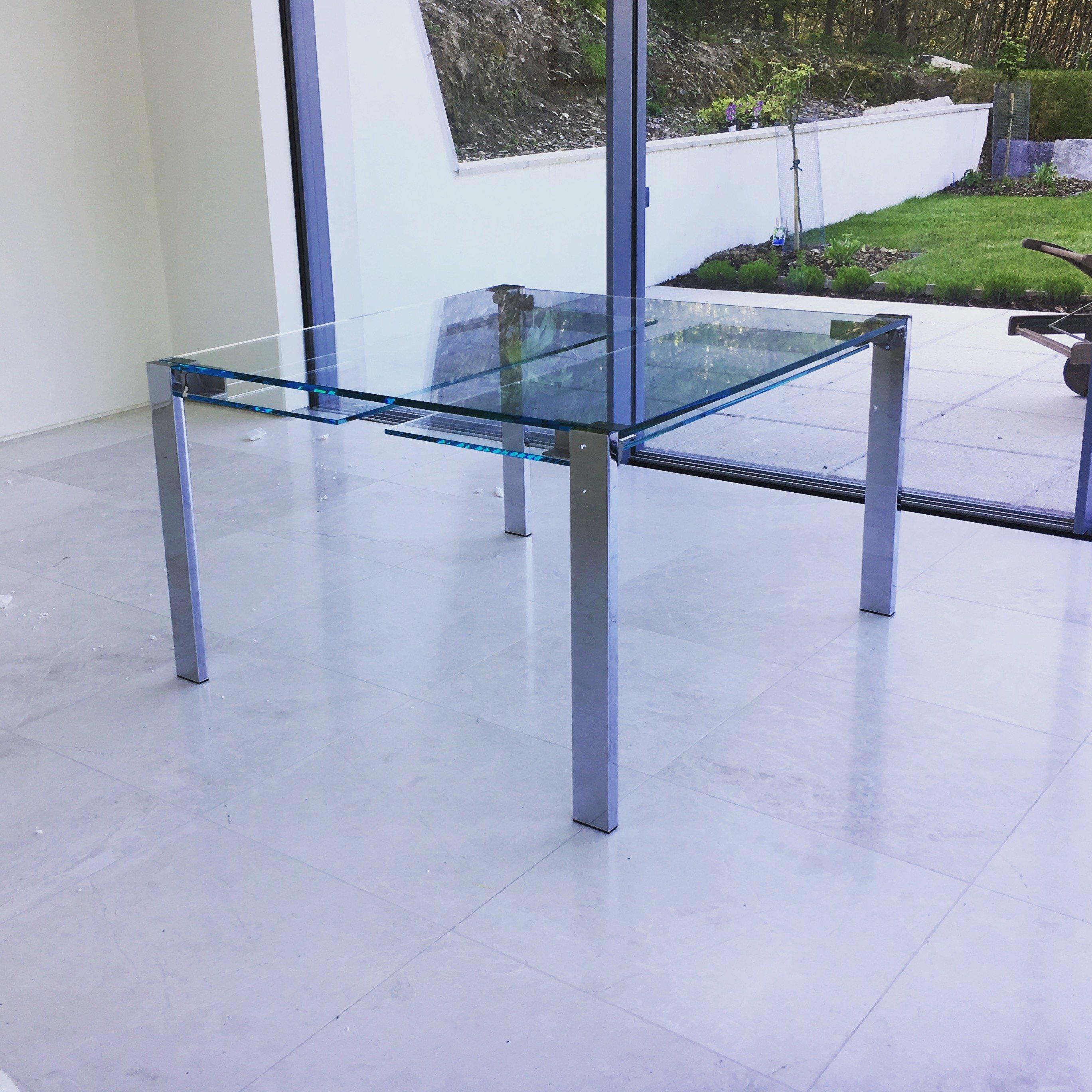 livingstone extending glass dining table