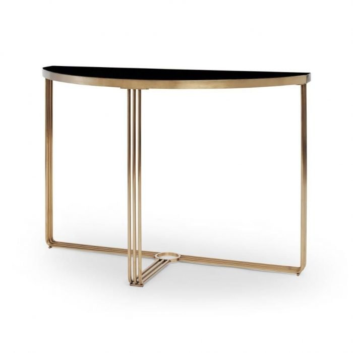 Black Glass and Brass Console Table