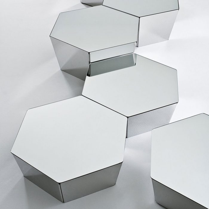 Basalto Mirror top table with stainless steel base By Gallotti and Radice
