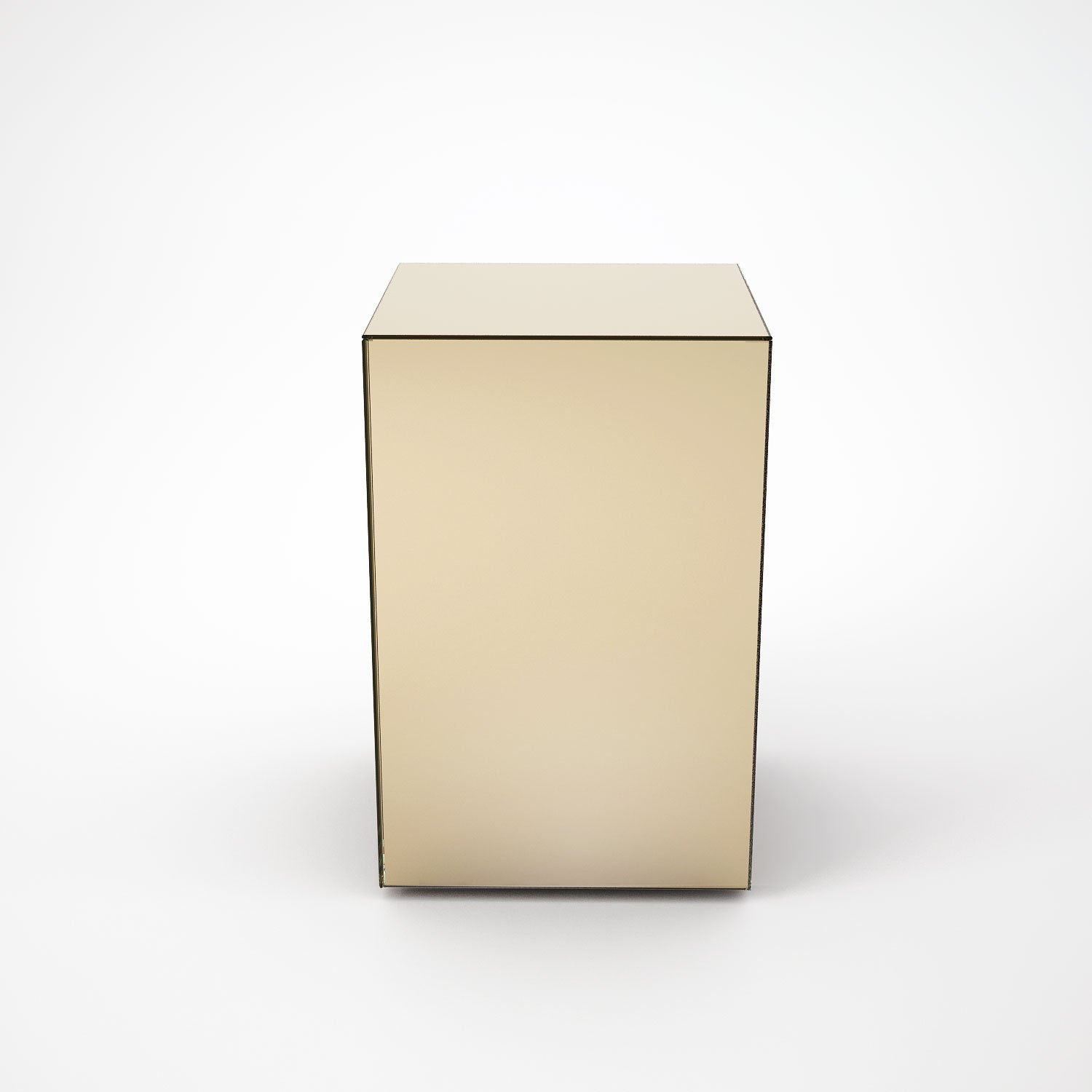 Bronze mirrored side table by mirrorbox klarity glass furniture Mirror glass furniture