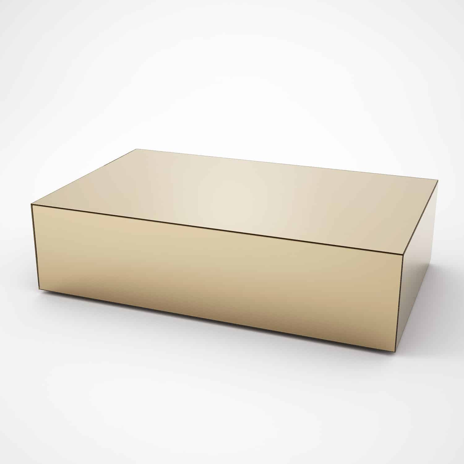 Rectangular bronze mirrored coffee table by mirrorbox for Glass furniture