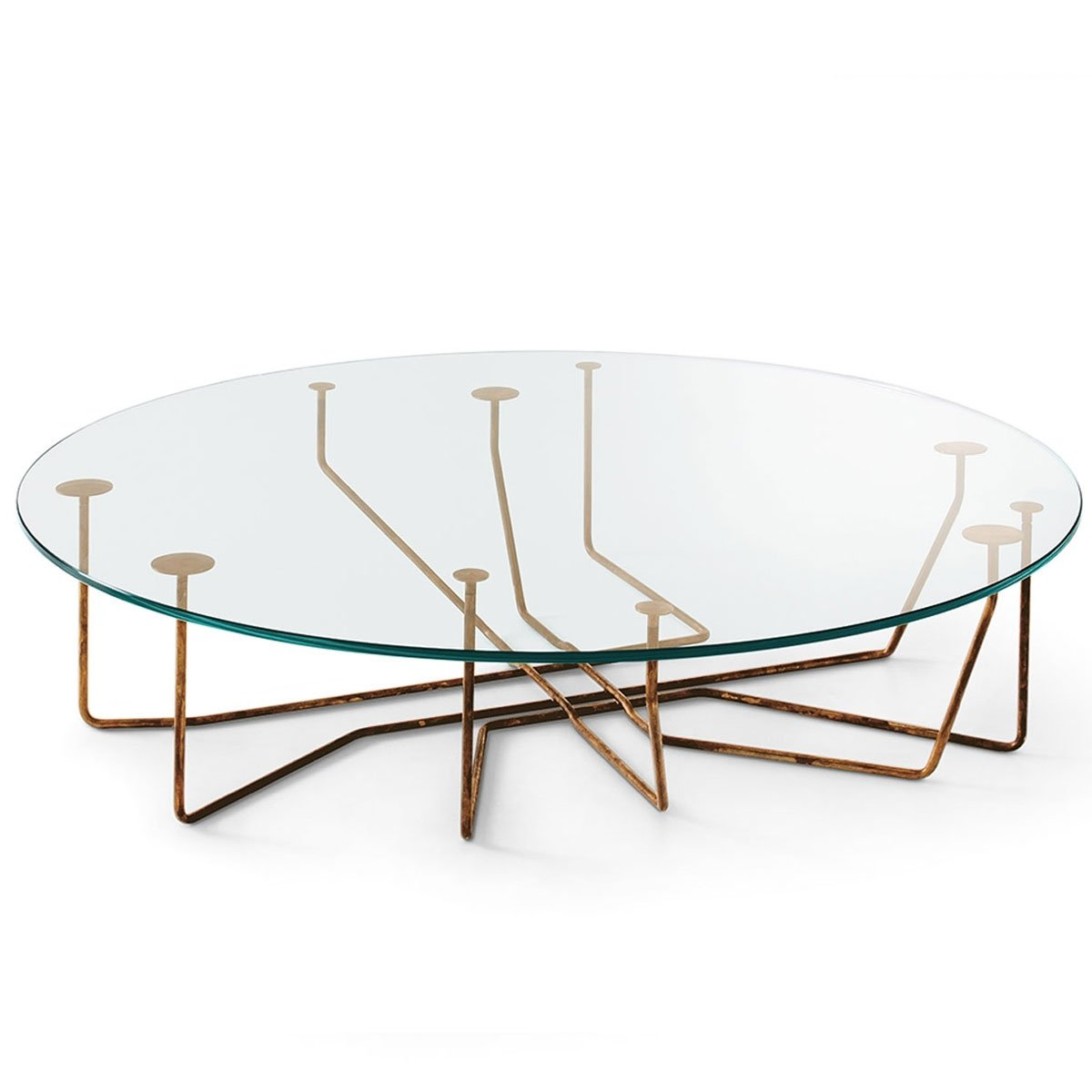 Connection glass and brass coffee table by gallotti radice klarity glass furniture Coffee tables glass