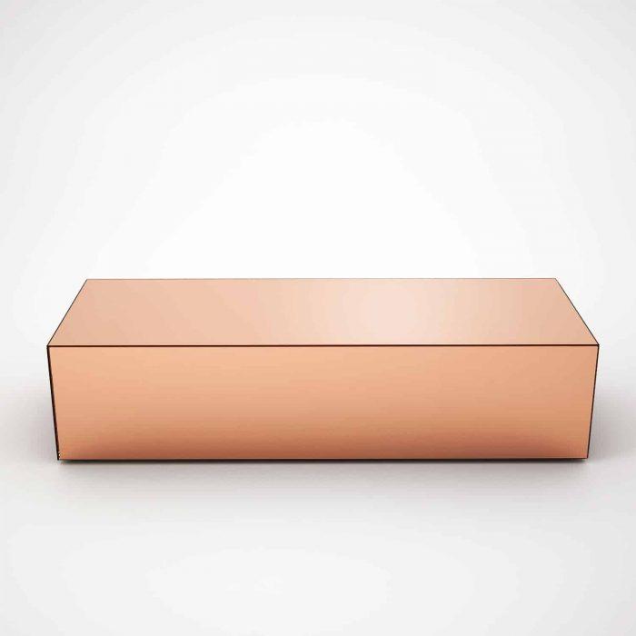 rectangular copper coffee table