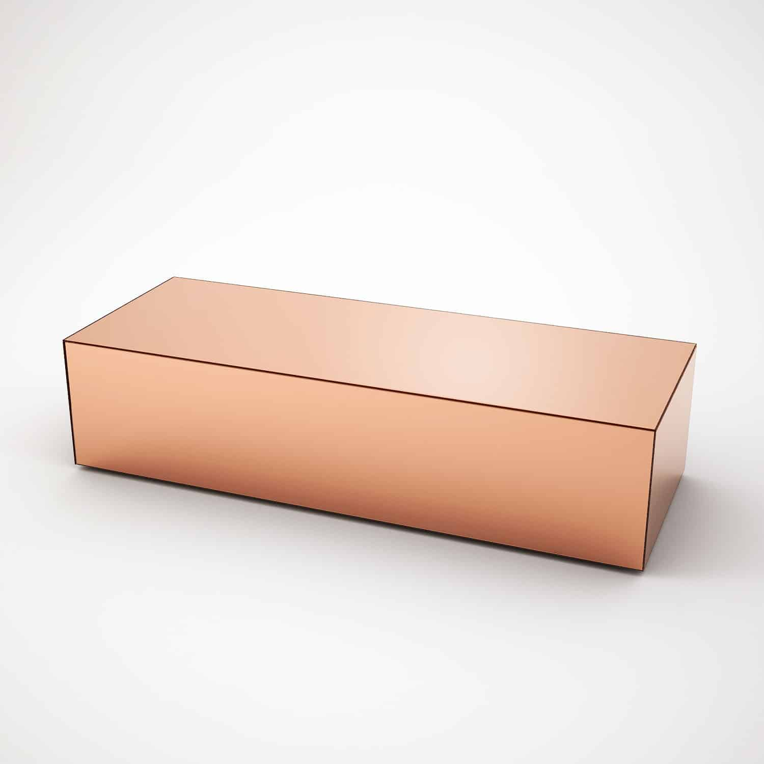 Copper Top Rectangular Coffee Table: Long Copper Mirrored Coffee Table By MirrorBox