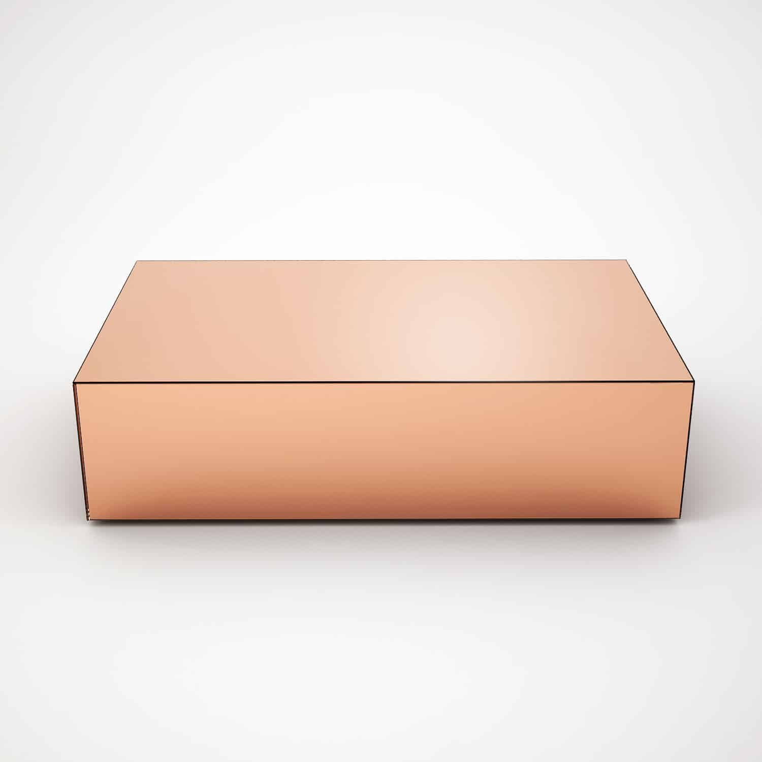 Rectangular copper mirrored coffee table by mirrorbox for Glass furniture