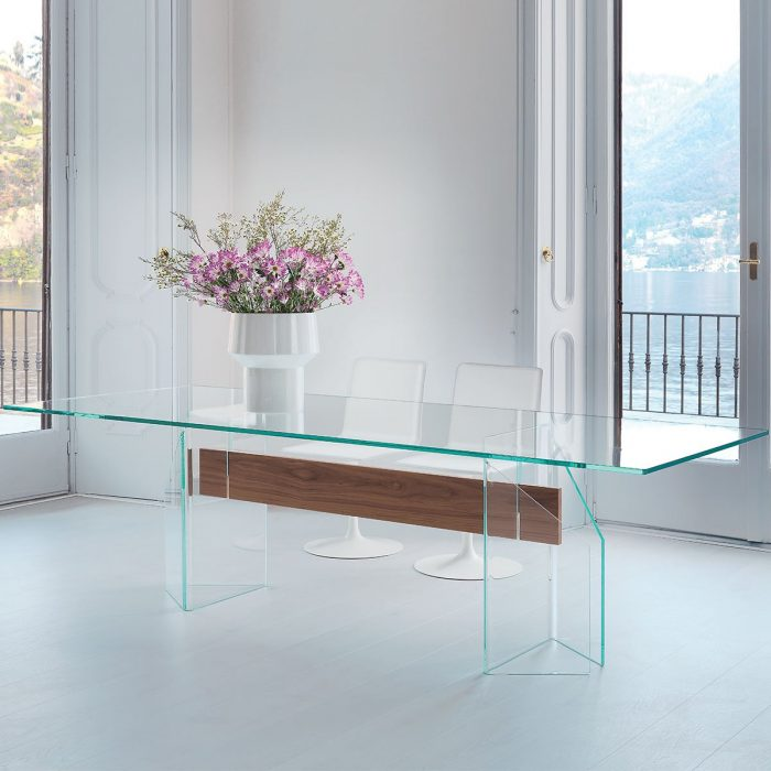 All glass dining room tables klarity glass furniture for All glass dining room table