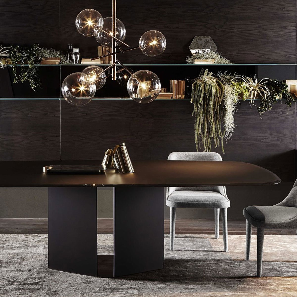 Eyl Black Glass Dining Table By Gallotti Radice Klarity Glass Furniture