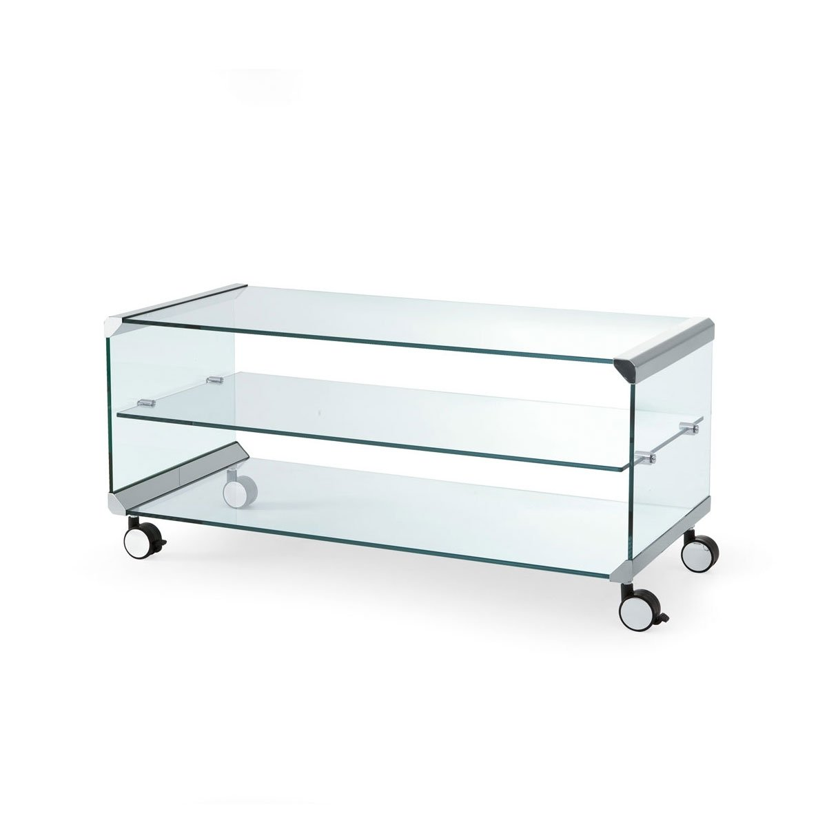 George 1 Glass And Metal Coffee Table With Castors By Gallotti Radice Klarity Glass Furniture