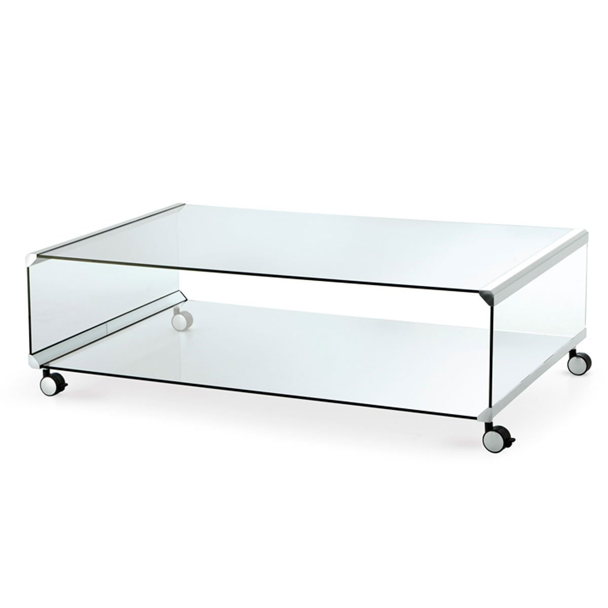 George 2 Glass And Metal Coffee Table With Castors By Gallotti Radice Klarity Glass Furniture