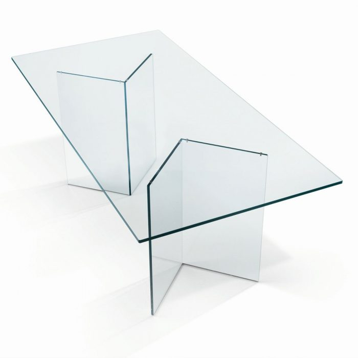 Bacco all glass dining table klarity Glass dining table