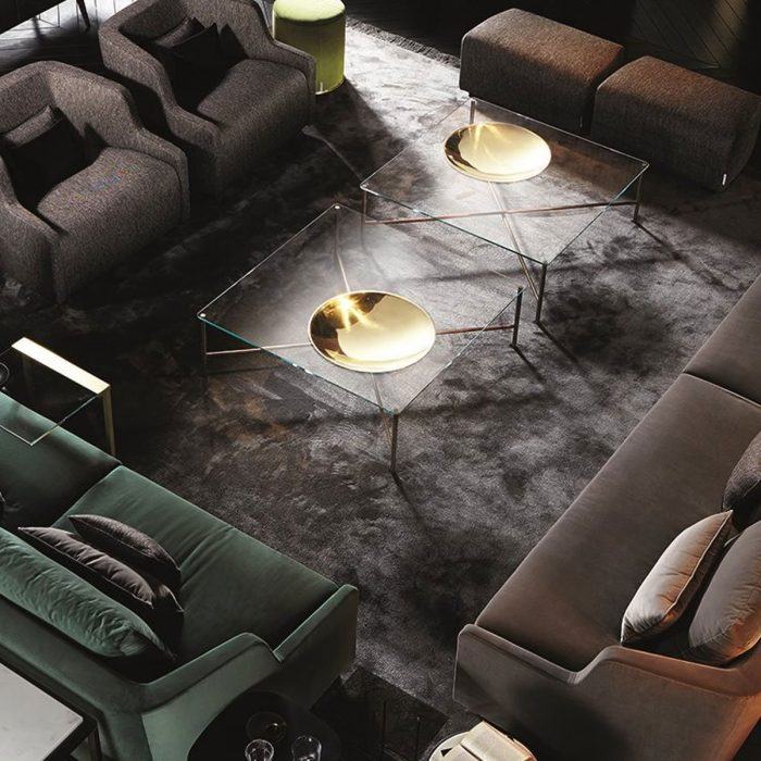 Golden-Moon Glass and Brass Coffee Table by Gallotti & Radice