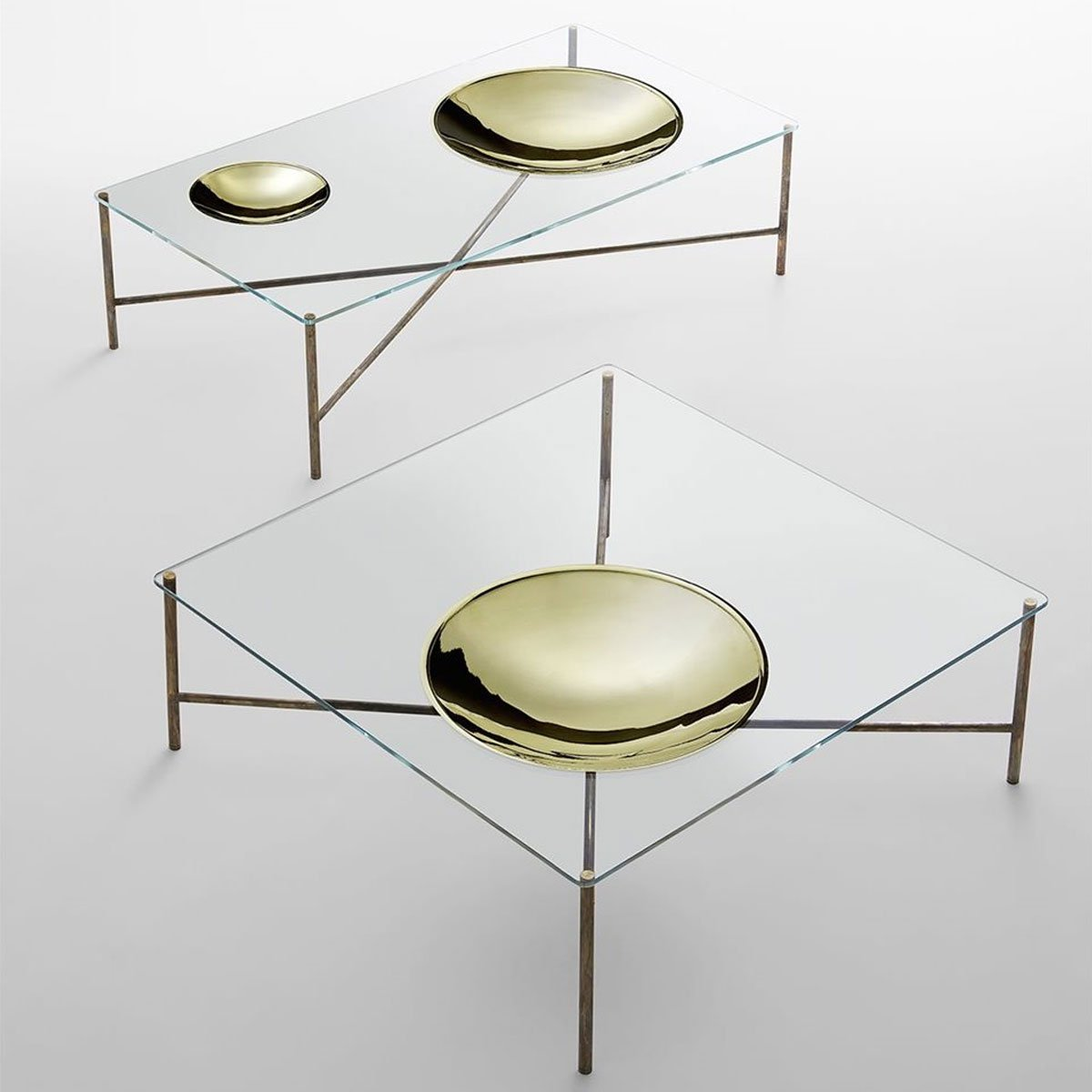 Glass and Metal Coffee table with Metal dish