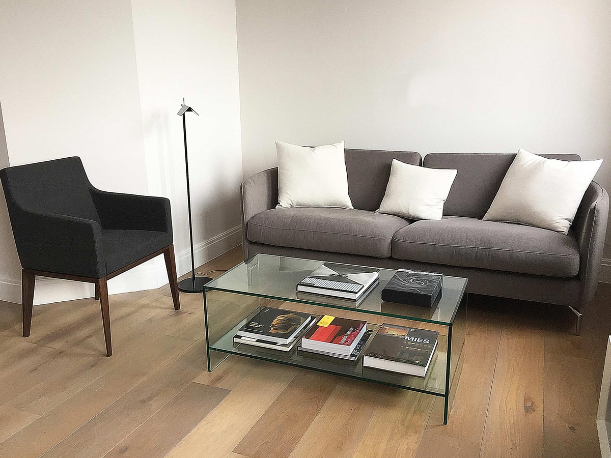Judd Glass Coffee table with shelf