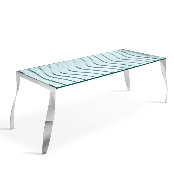 Tonelli luz de luna glass dining table