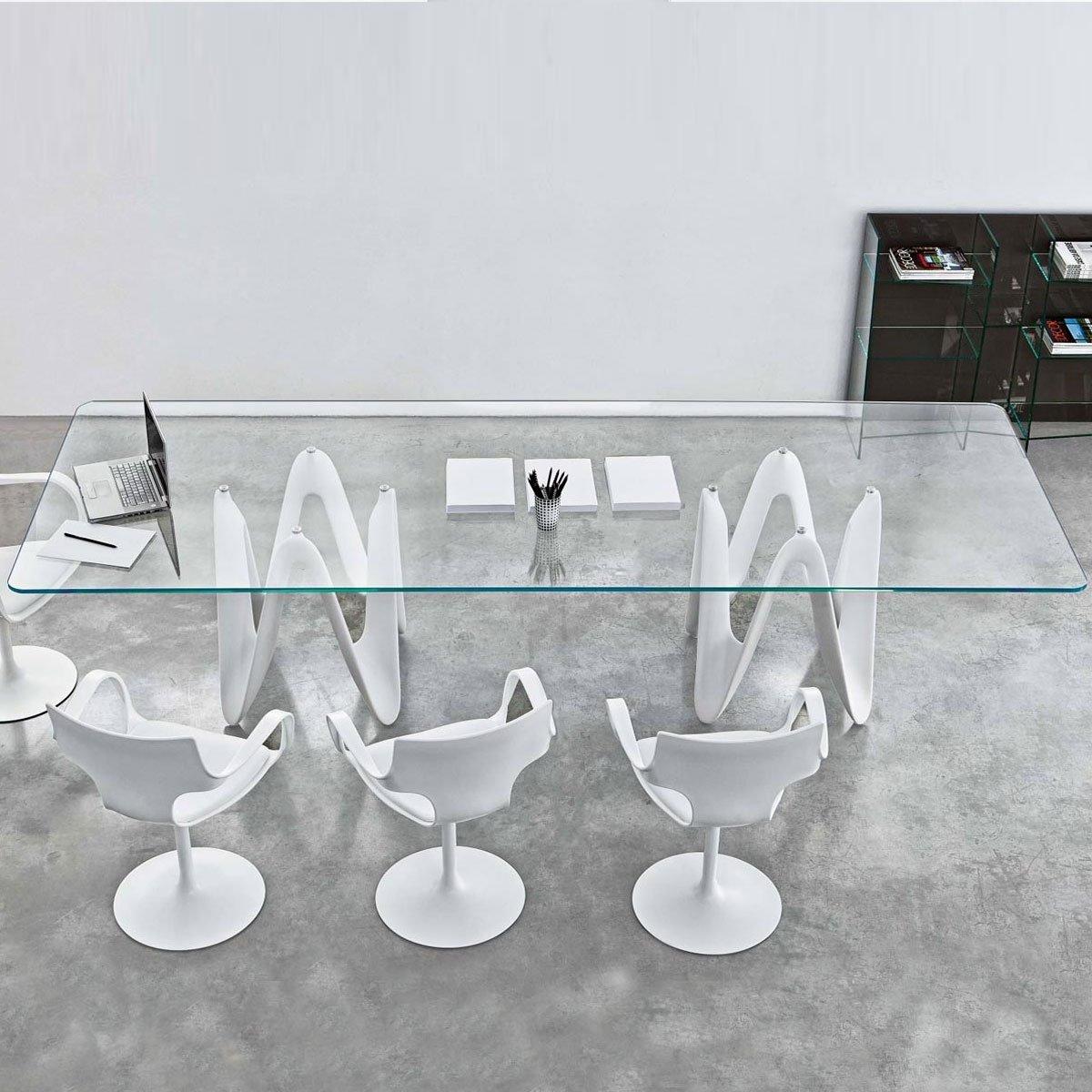 lambda large glass dining table klarity glass furniture. Black Bedroom Furniture Sets. Home Design Ideas