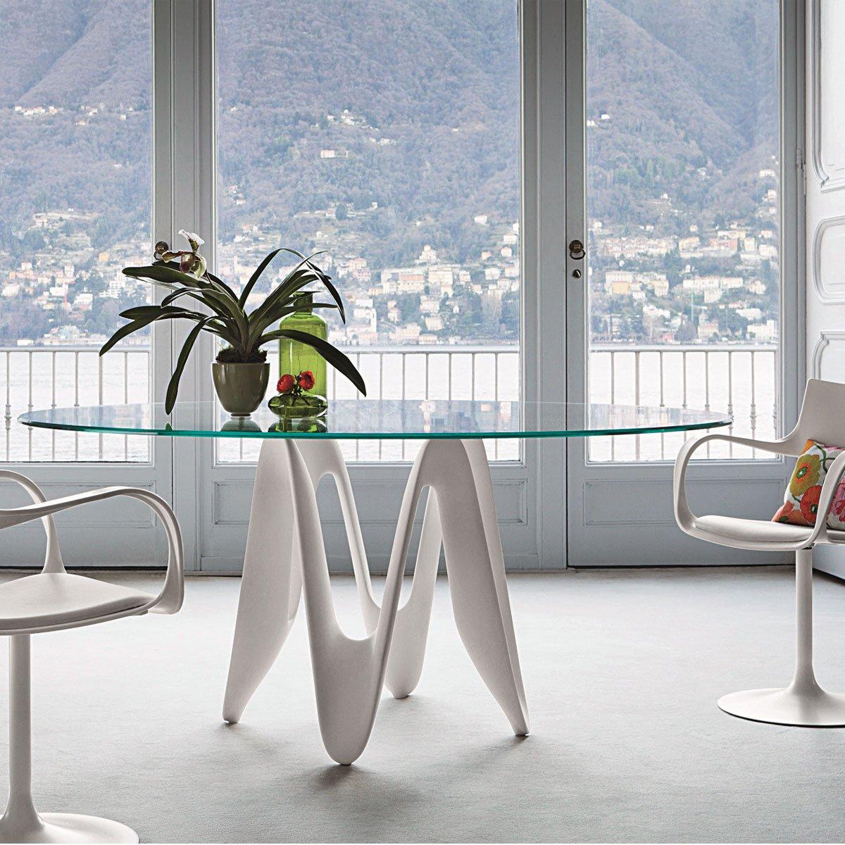 Lambda Oval Glass Dining Table Klarity Glass Furniture