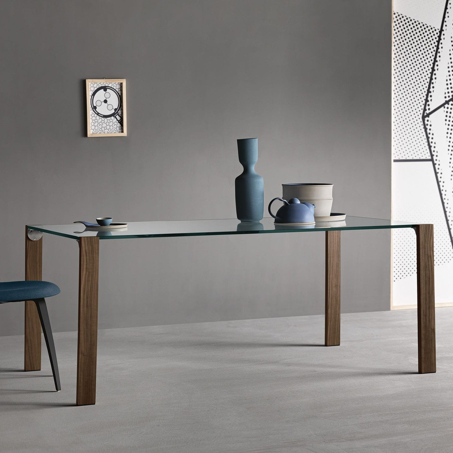 Glass wood dining table - Livingstand Glass And Wood Dining Table Tonelli