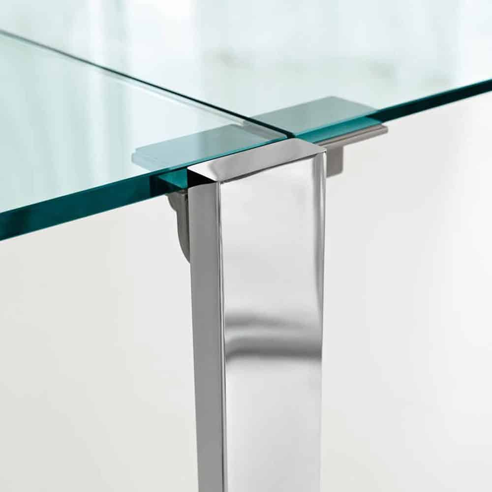 livingstone extending metal glass dining table by