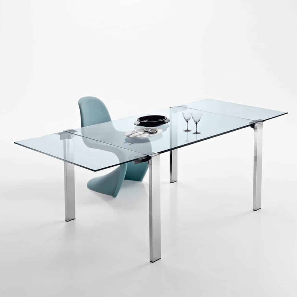 Livingstone Extending Metal glass dining table by Tonelli