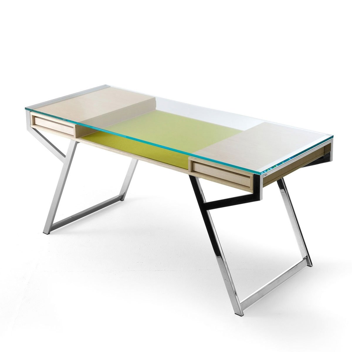 Lui glass desk with wood and metal frame by gallotti for Glass furniture