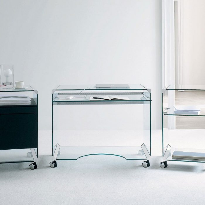 glass desk on castors