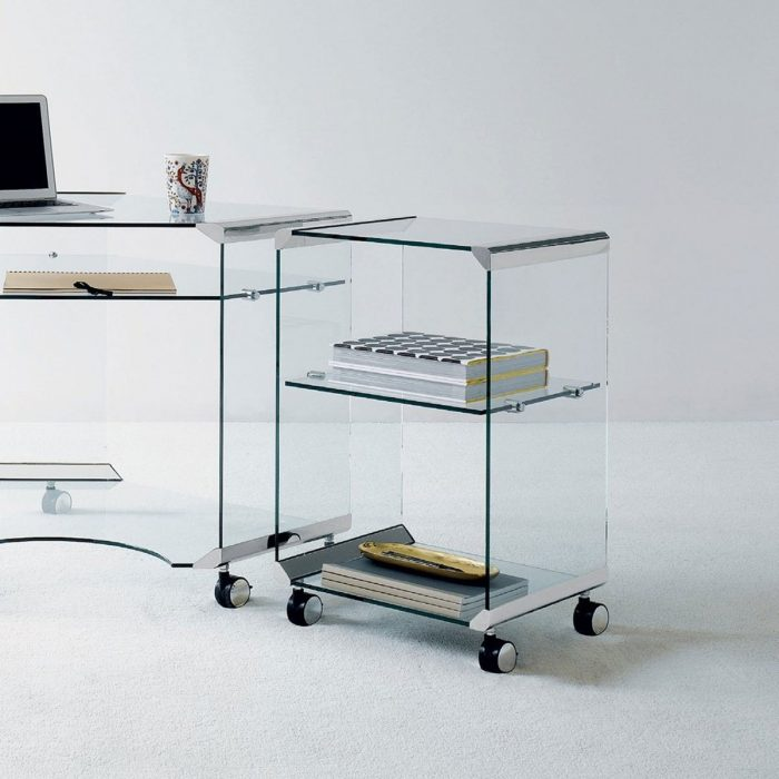 glass storage unit on Castors