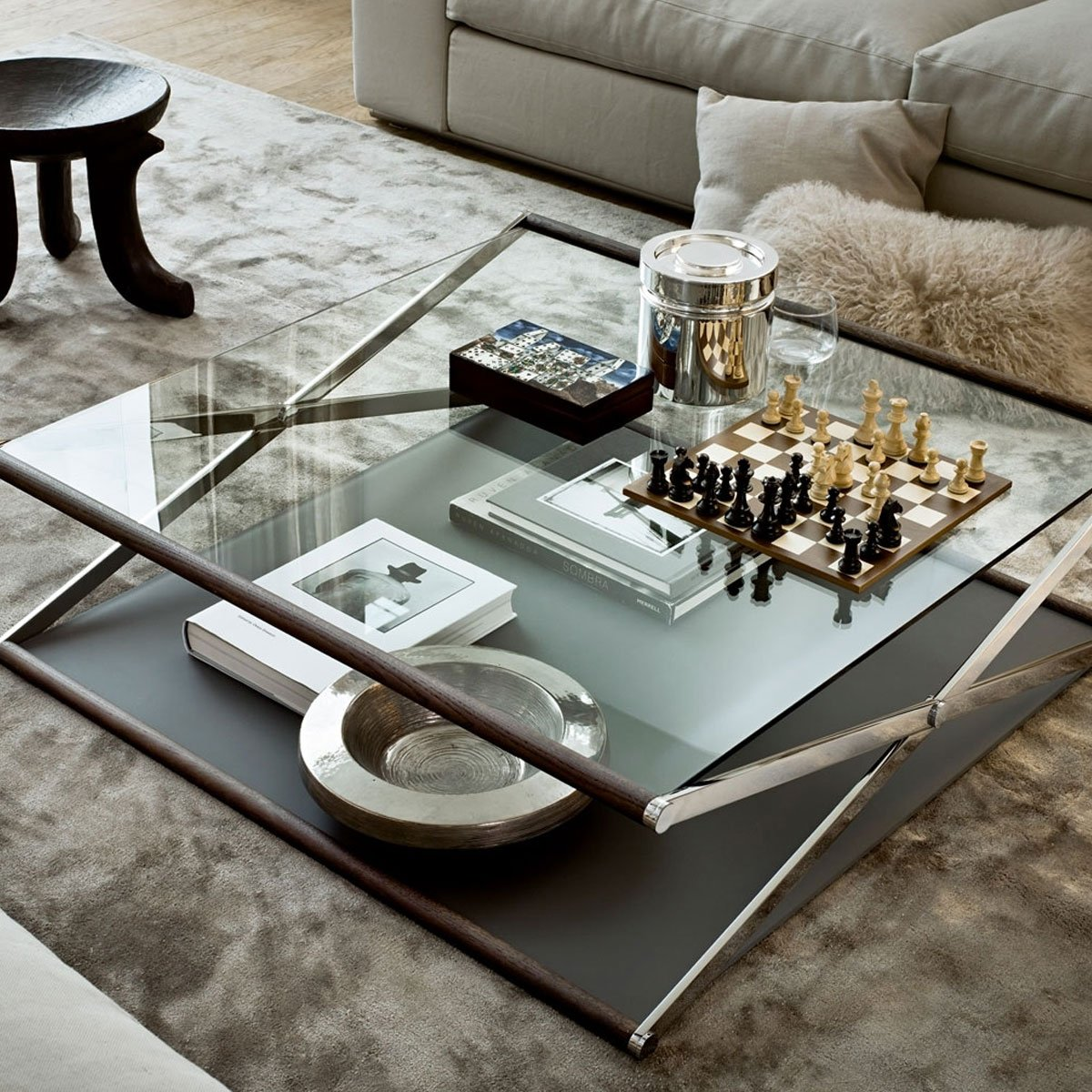 Nox glass wood and metal coffee table by gallotti radic for Glass furniture