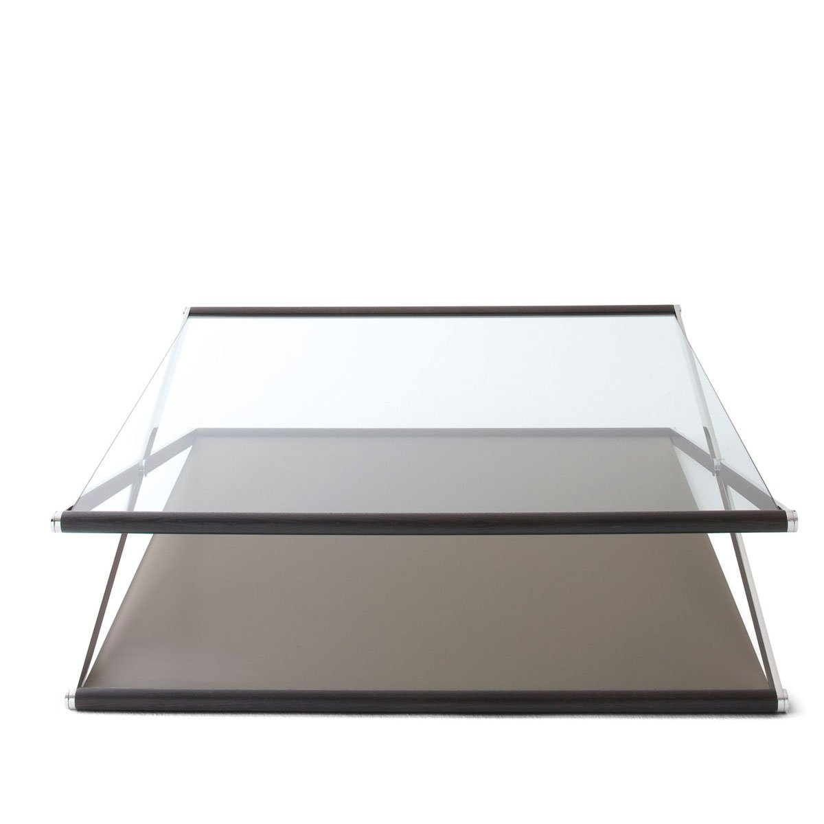 Nox glass wood and metal coffee table by gallotti radic klarity glass furniture Metal and glass coffee table