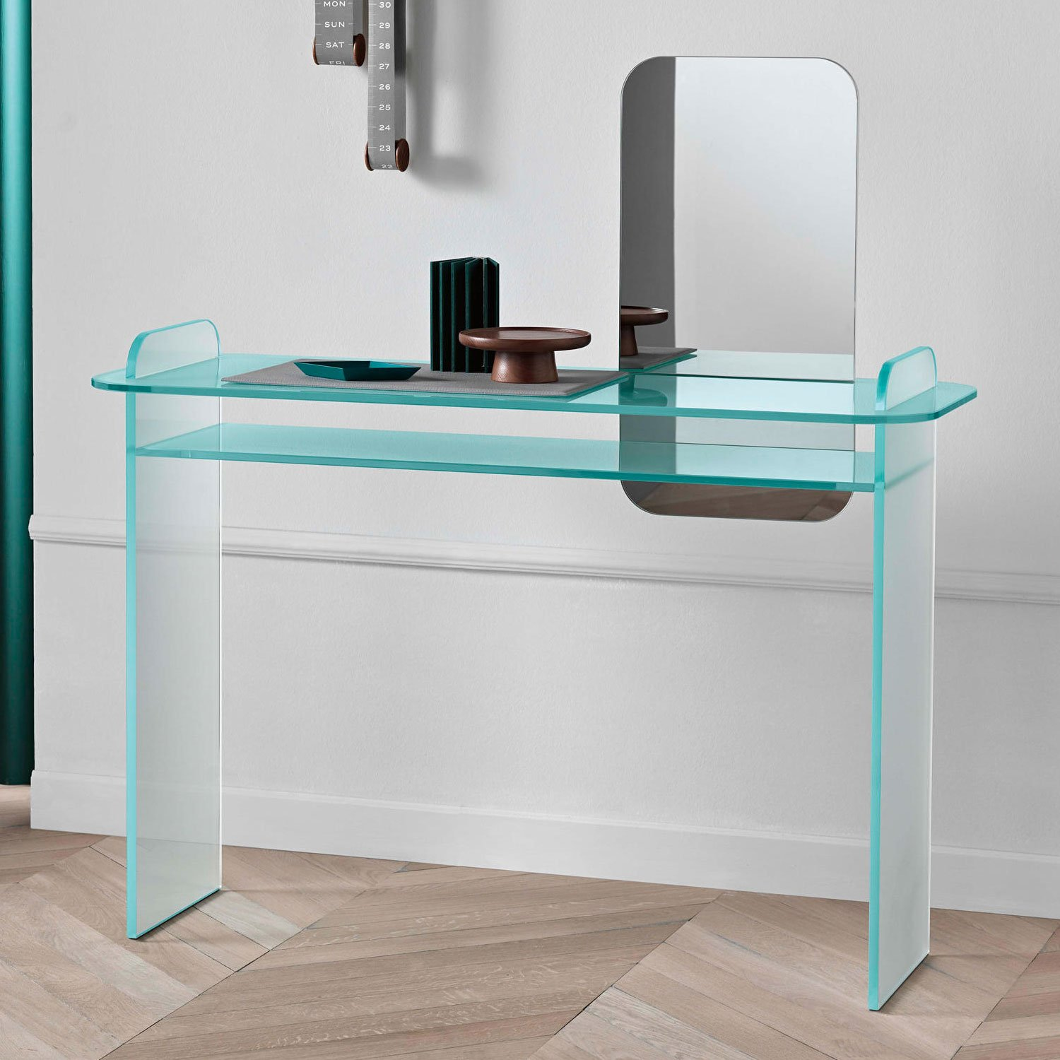Glass console table with mirror - Opalina Glass Console Table With Mirror Tonelli