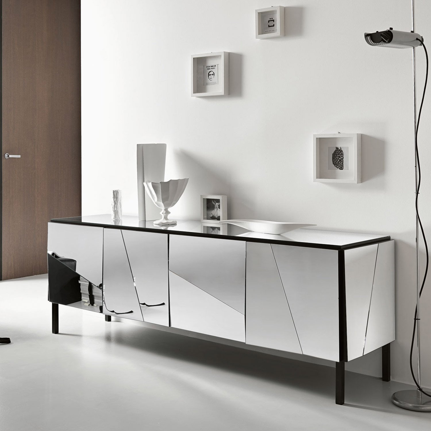 Psiche mirrored sideboard by tonelli klarity glass for Sideboard glas