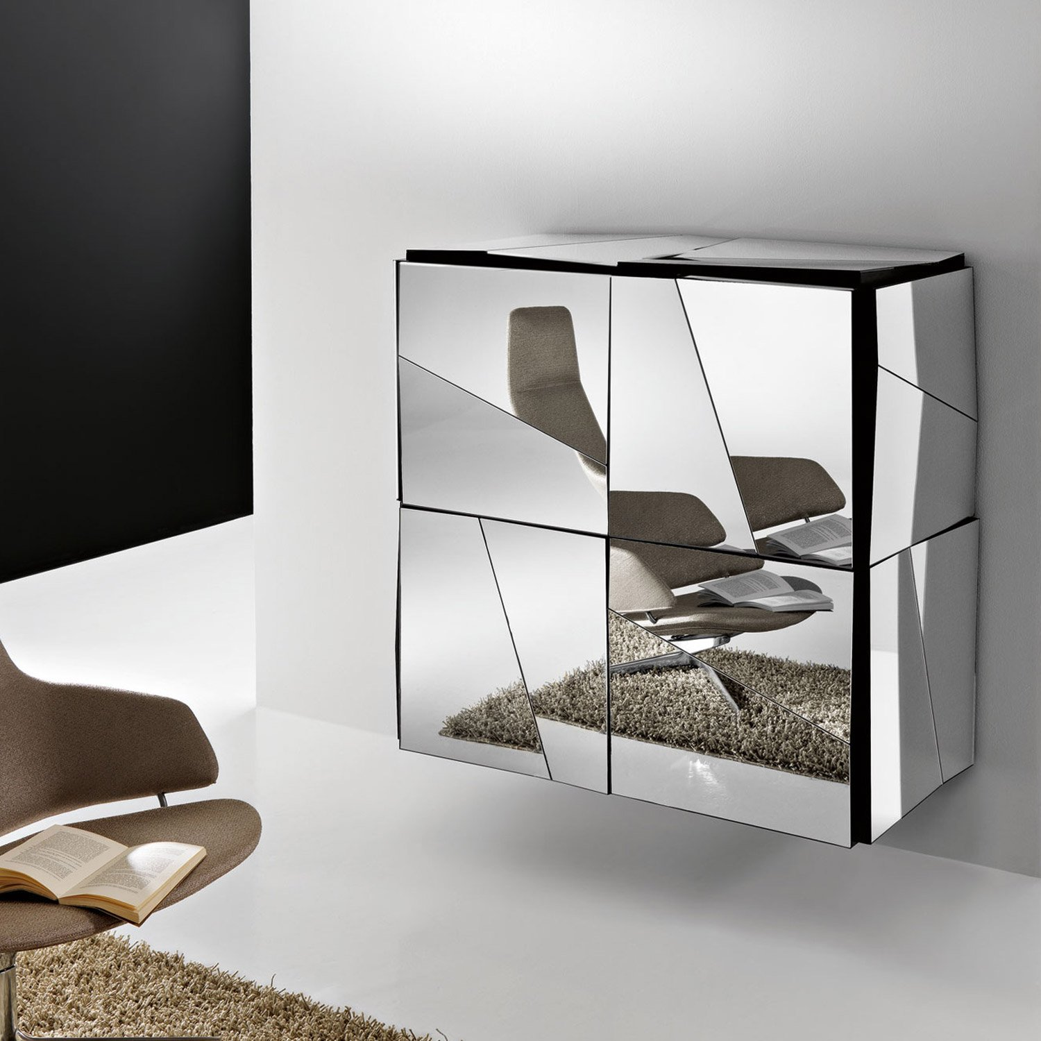 Psiche mirrored cabinet by tonelli klarity glass furniture Mirror glass furniture