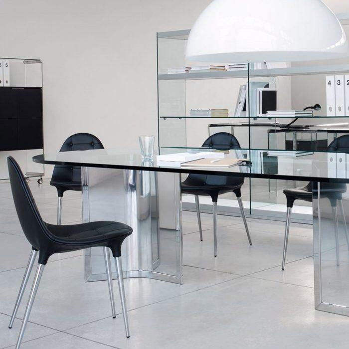 Raj Glass and Metal Table By Gallotti & Radice