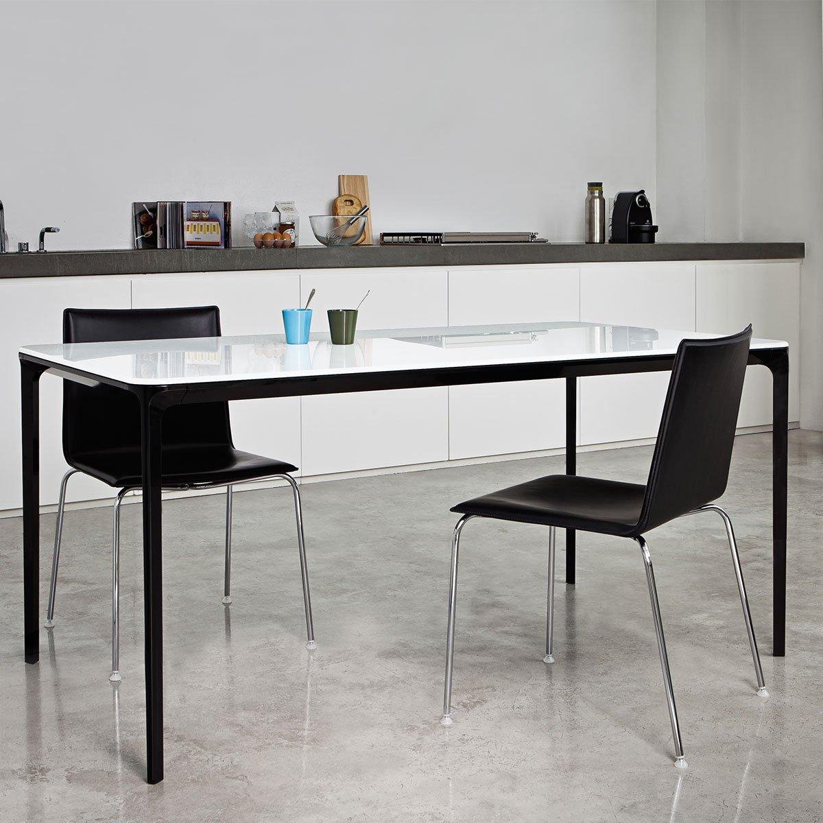 slim glass and metal dining table by sovet italia klarity. Black Bedroom Furniture Sets. Home Design Ideas