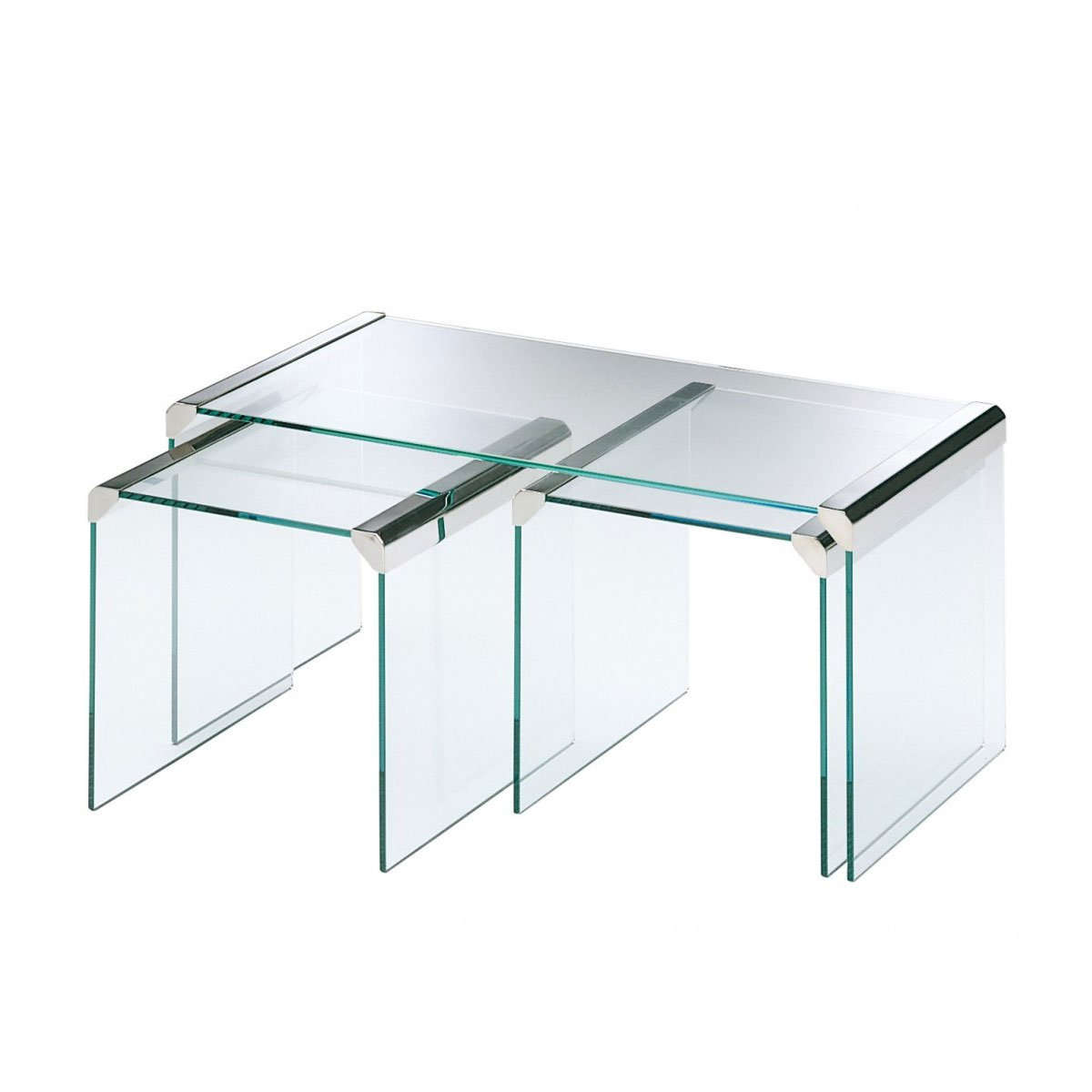 T35r nesting glass and metal coffee table by gallotti radice klarity glass furniture Metal and glass coffee table