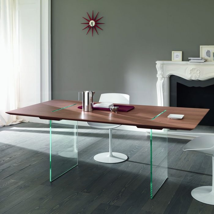 Livingstone Extending Wood And Glass Dining Table By Tonelli Klarity Glas