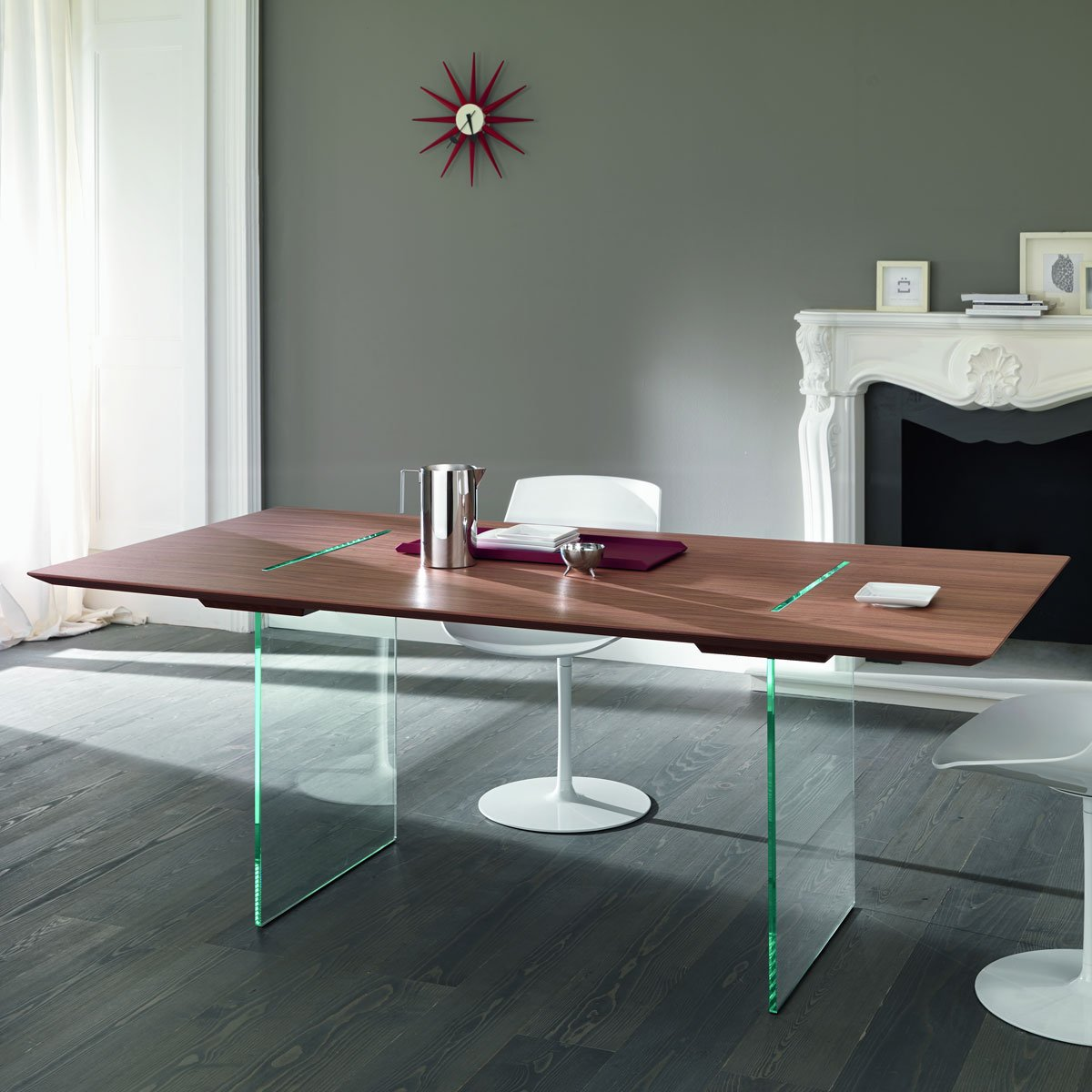Tavolante Glass and Wood Dining table Klarity Glass Furniture