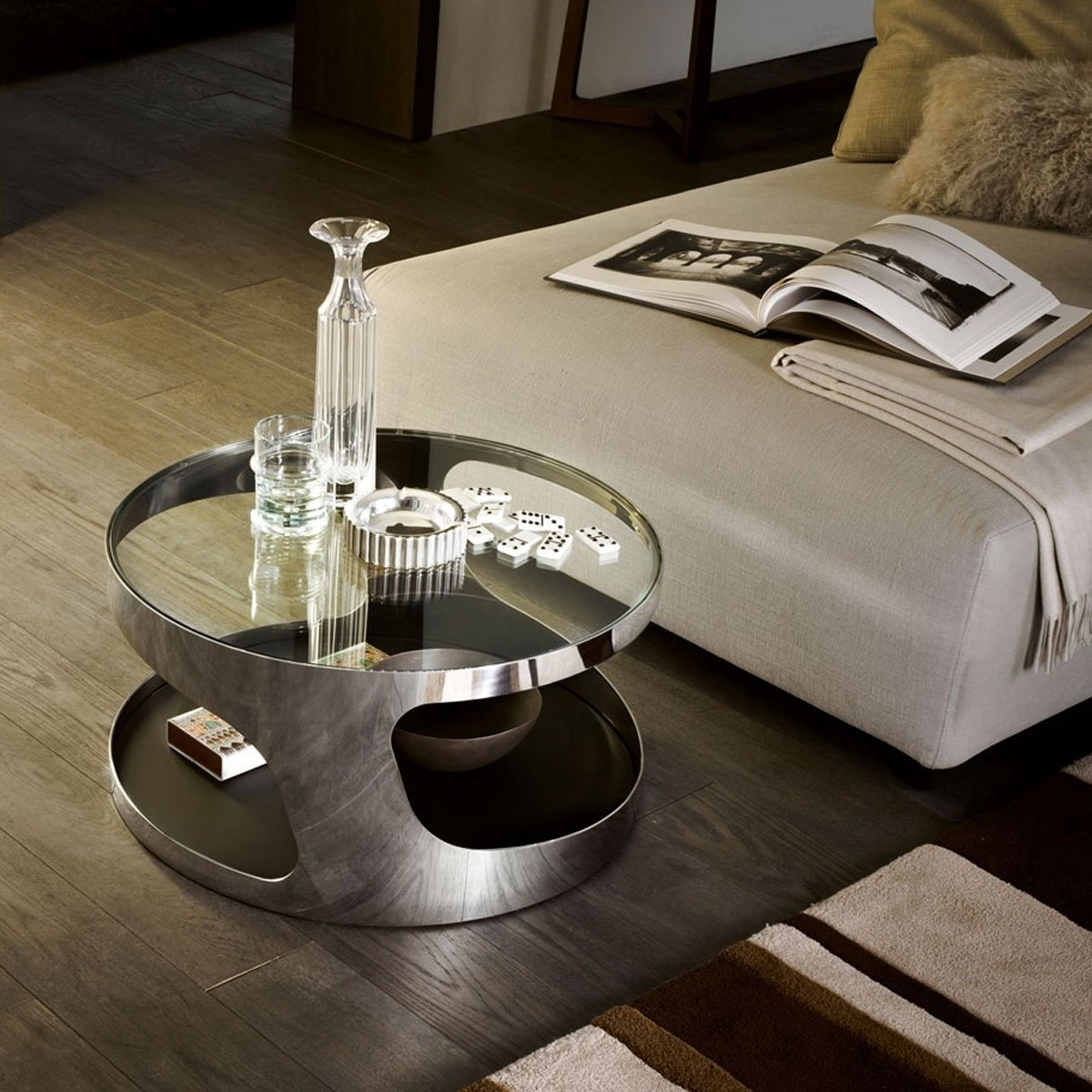 tab round glass and metal coffee table by gallotti radice klarity glass furniture. Black Bedroom Furniture Sets. Home Design Ideas