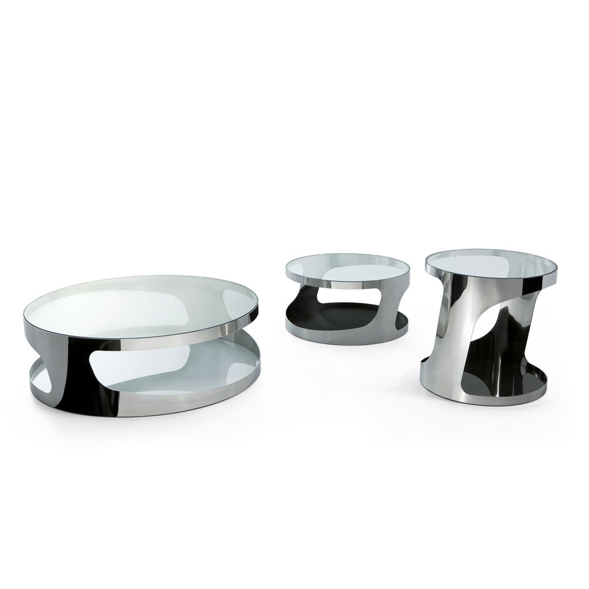 Tab round glass and metal coffee table by gallotti radice klarity glass furniture Metal and glass coffee table