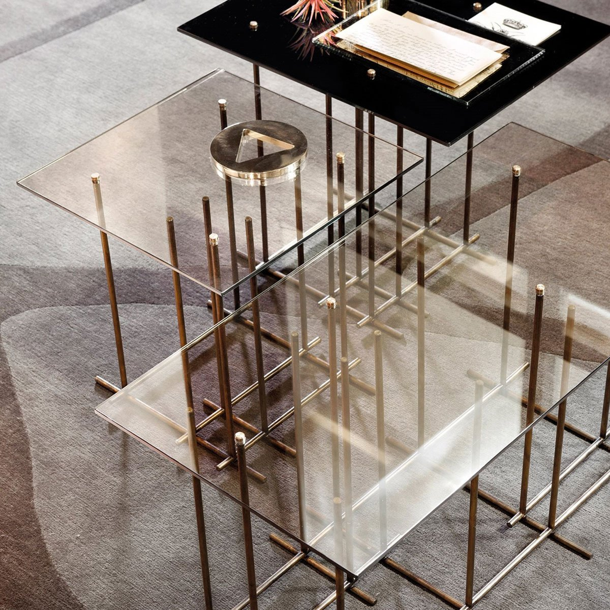 Tetris glass and metal coffee table by gallotti radice klarity glass furniture Metal and glass coffee table