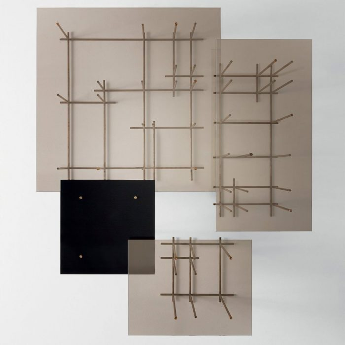 Tetris Glass and Metal Coffee Table by Gallotti & Radice