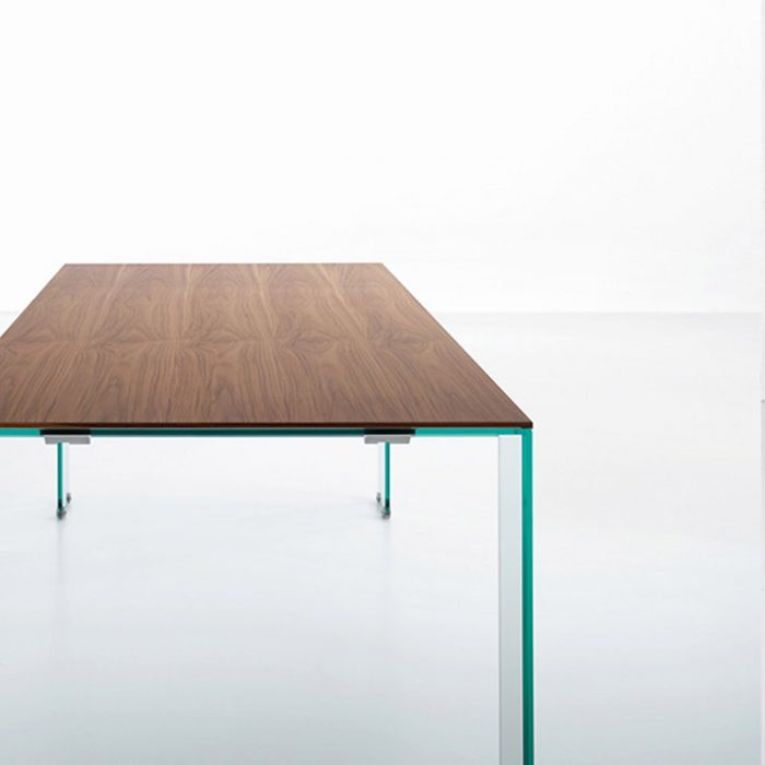 Aria wood and Glass dining table Extendable Klarity : aria glass dining table miniform 2 700x700 from glassfurniture.co.uk size 700 x 700 jpeg 8kB
