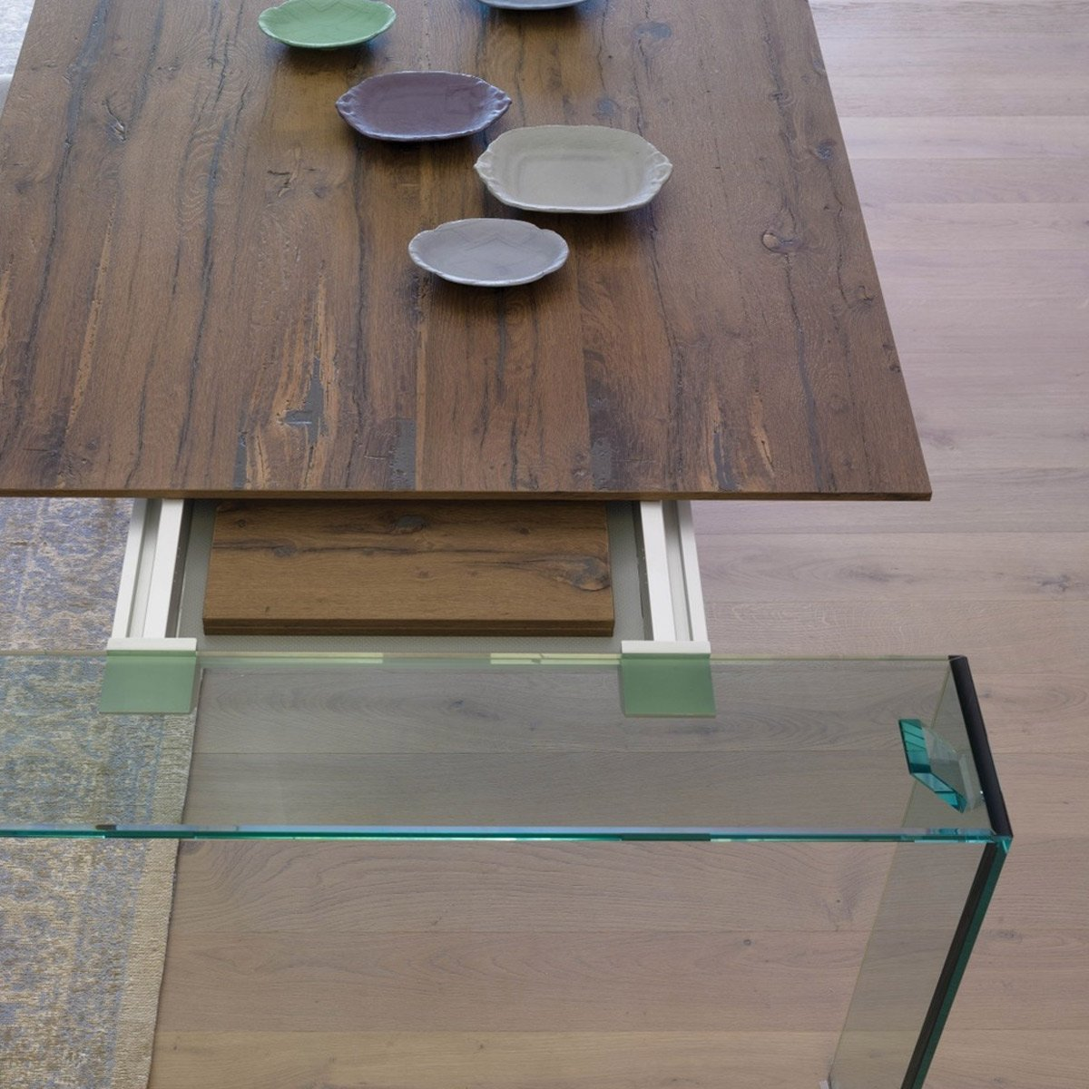 Aria Wood And Glass Dining Table Extendable Klarity Glass Furniture