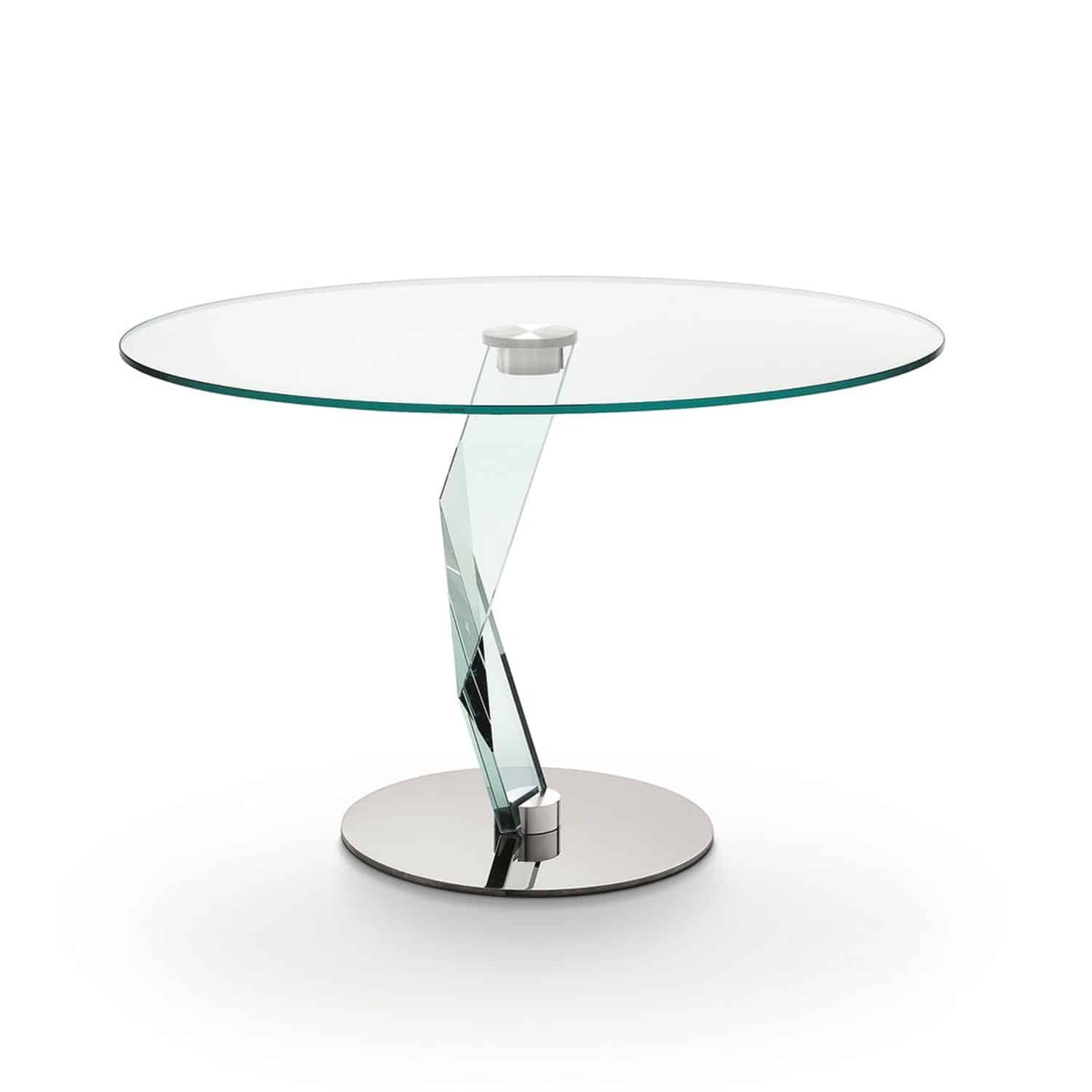 Bakkarat round glass dining table by tonelli klarity for Glass furniture