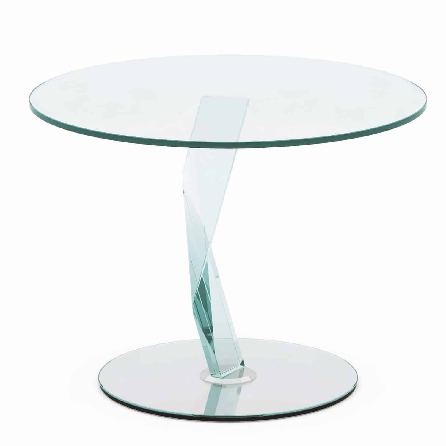 Bakkarat glass side table by tonelli klarity glass for Glass furniture