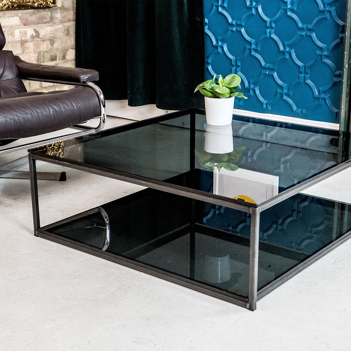 Cubic industrial glass coffee table with shelf klarity for 2 shelf glass coffee table