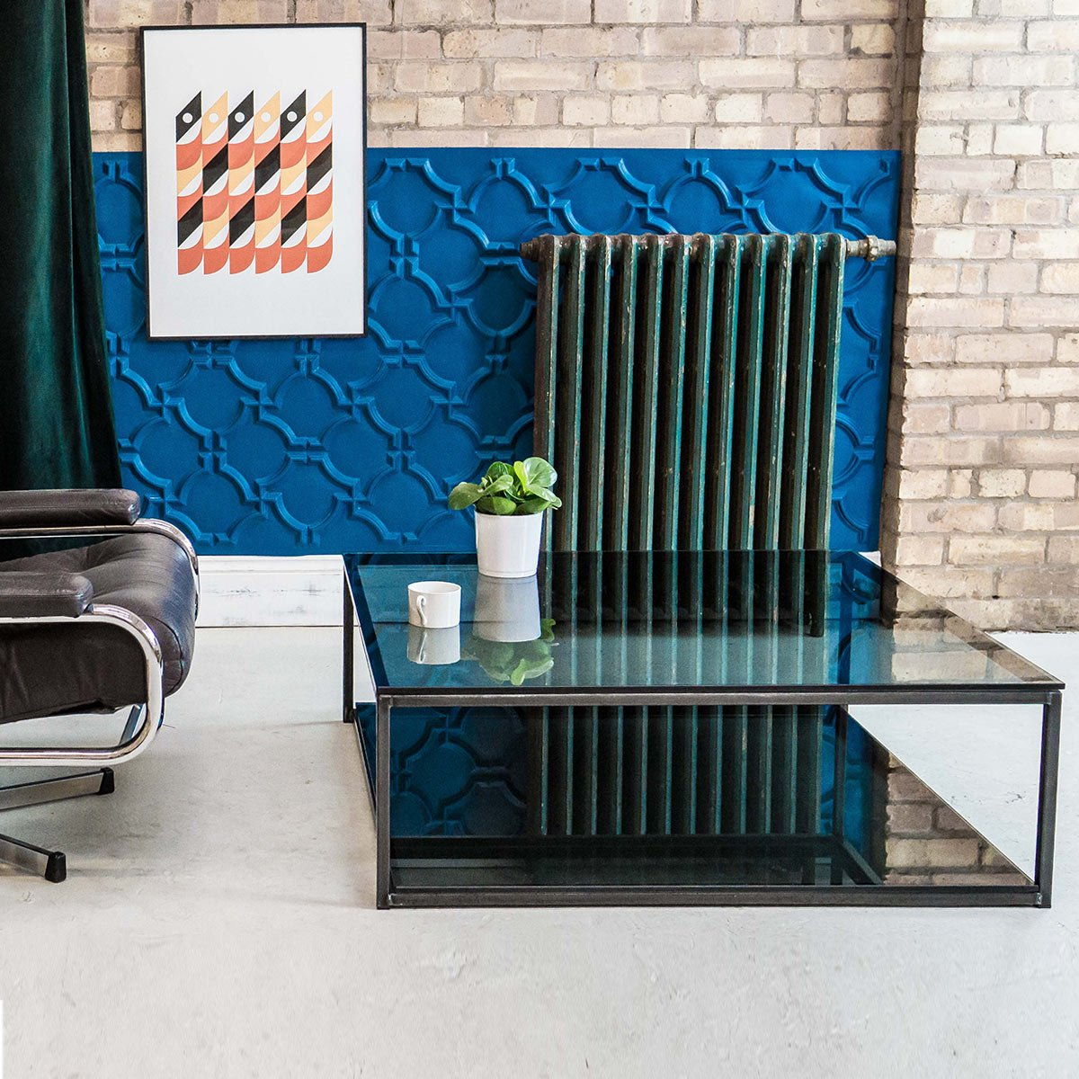 Cubic Industrial Glass Coffee Table With Shelf