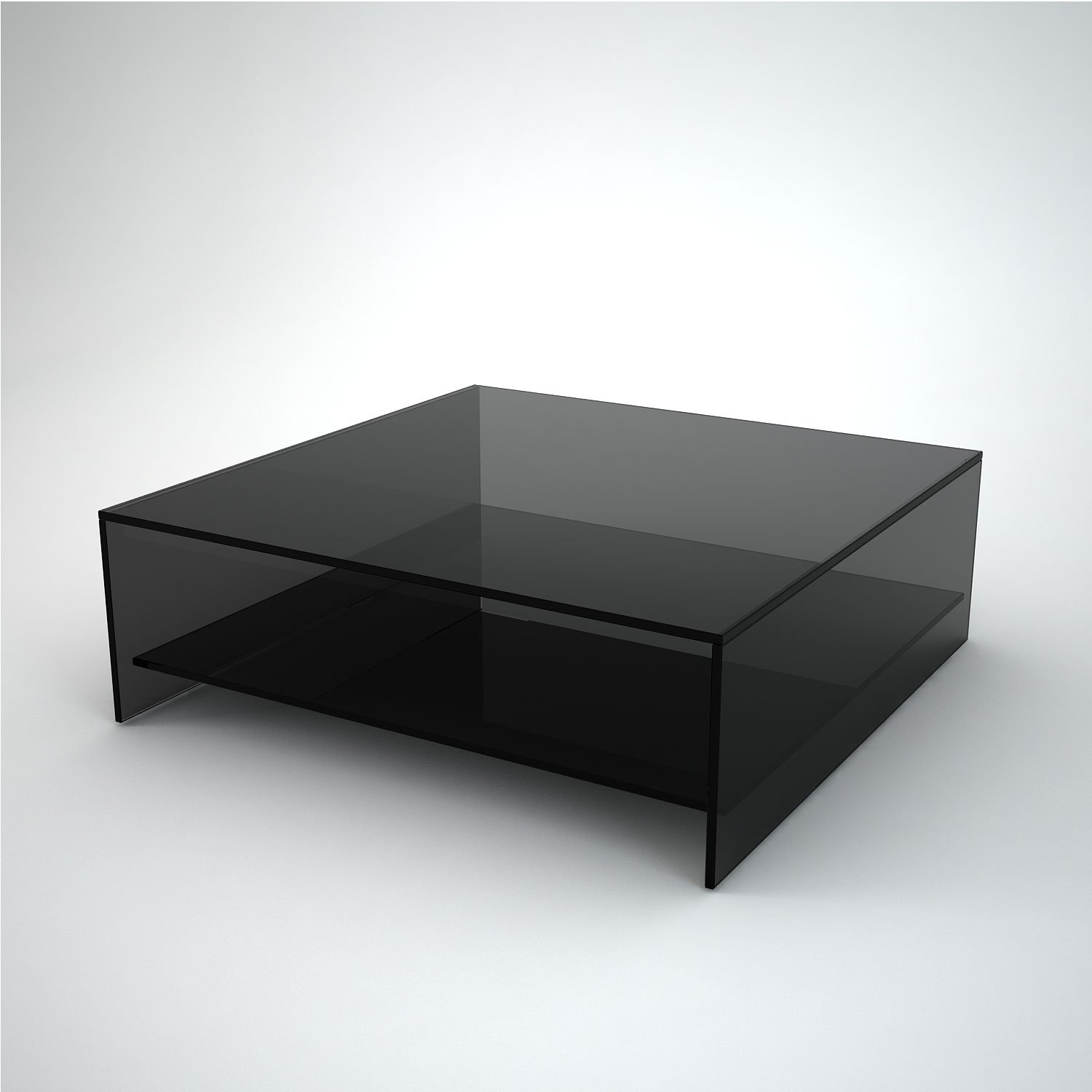 Judd Square Smoked Glass Coffee Table with Shelf Klarity